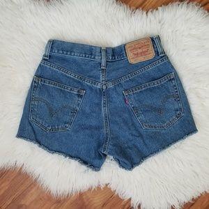 Vintage Levi's 550 high rise cut off shorts